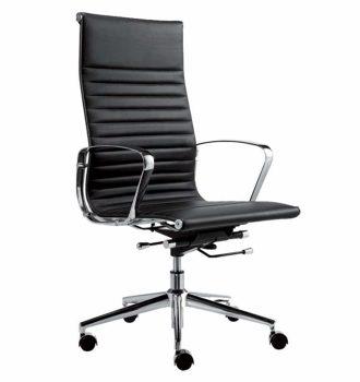 Wye læder mødestol høj ryg sort farve